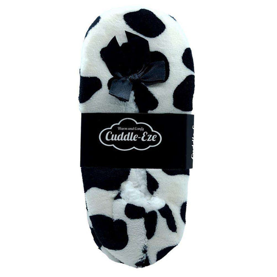 Cuddle Eze Slippers Black Cow Print