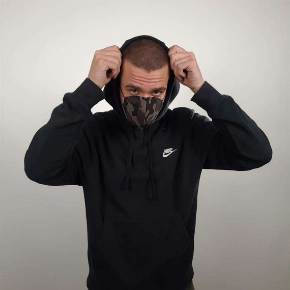 3-Layer Cotton Mask Black Camo