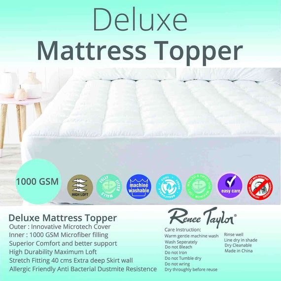 Renee Taylor 1000 GSM Deluxe Mattress Topper With Soft Cover And Squared Quilting