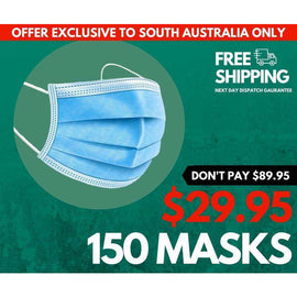 3PLY DISPOSABLE FACE MASKS (150 PACK) BUNDLE