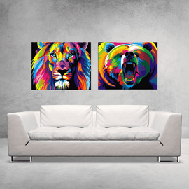 Paint By Numbers Duo Set - Wild Beasts 60x80cm