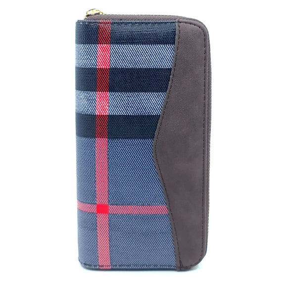 Ladies Purse Tartan Blue and Brown