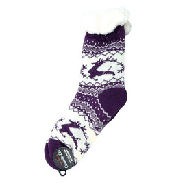 Cuddle Eze Knitted Socks-Purple