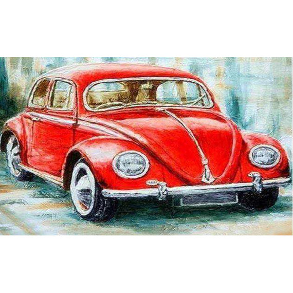 Diamond Art Picture Half Drill Size 30X30 Red Vintage Car