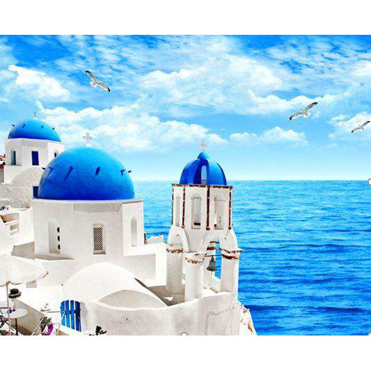 Diamond Art Picture Half Drill Size 30X30 Santorini