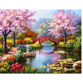 Diamond Art Picture Full Drill Size 40X50 Bridge Pond
