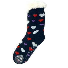 Cuddle Eze Knitted Socks-Heart-Black