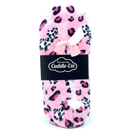 Cuddle Eze Slippers Bright Pink Leopard