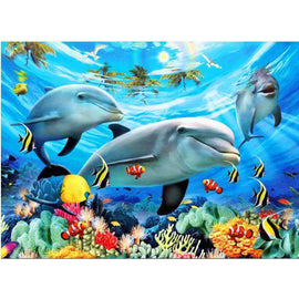 Diamond Art Picture Full Drill Size 50X65 Dolphins