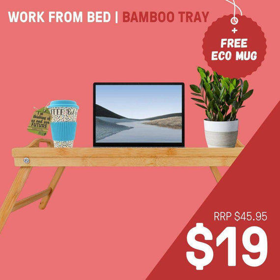 BAMBOO LAP TRAY + ECO CUP -WORK FROM BED
