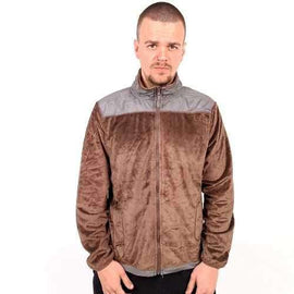 Mens Faux Suede Combo Jacket- Brown