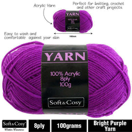 Yarn 100% Acrylic Bright Purple 100g