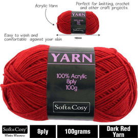 Yarn 100% Acrylic Dark Red 100g