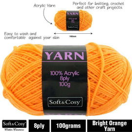 Yarn 100% Acrylic Bright Orange 100g