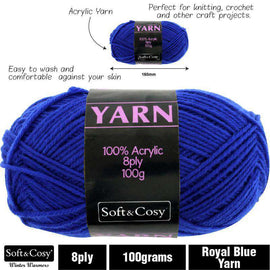 Yarn 100% Acrylic Royal Blue 100g