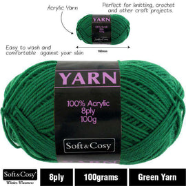 Yarn 100% Acrylic Green 100g