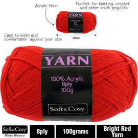 Yarn 100% Acrylic Bright Red 100g