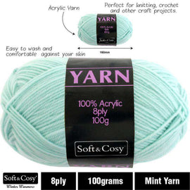 Yarn 100% Acrylic Mint 100g