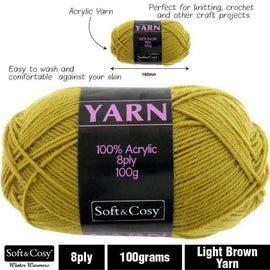 Yarn 100% Acrylic Light Brown 100g