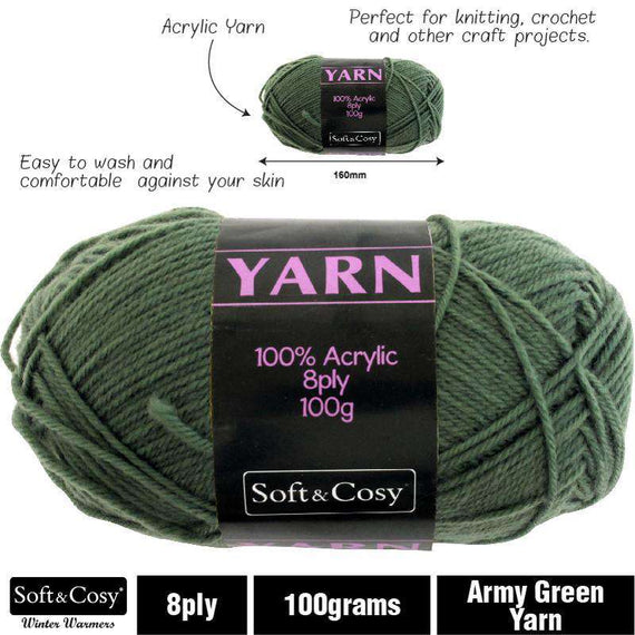 Yarn 100% Acrylic Army Green 100g