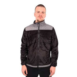 Mens Faux Suede Combo Jacket- Grey and Black
