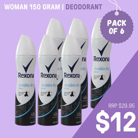 BULK BUY 6 PACK- Rexona 90G Deodorant Women Invisible Dry Aqua