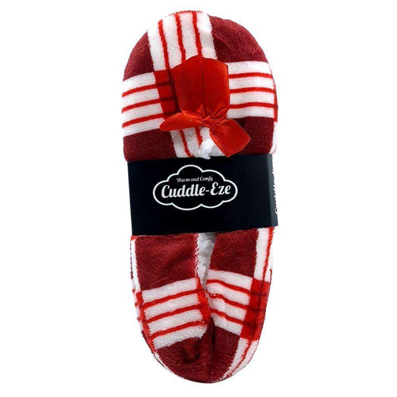 Cuddle Eze Slippers Red Tartan