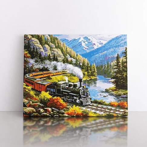 PaintbyNumber- 40x50cm  Alpine Railroad