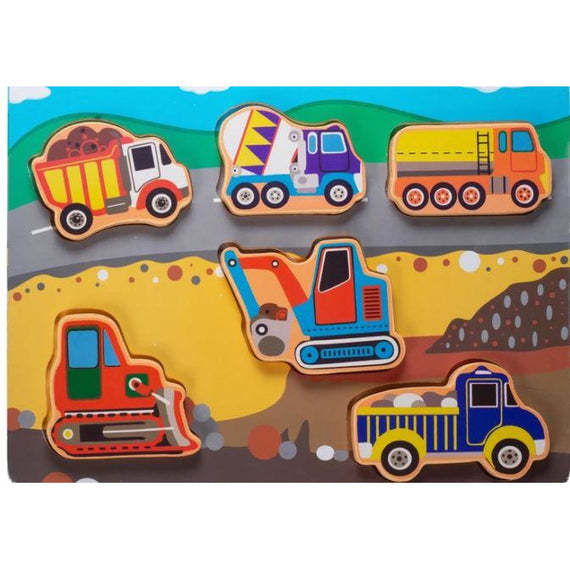 Kids wood Puzzle- Construction & Mining Vehicles