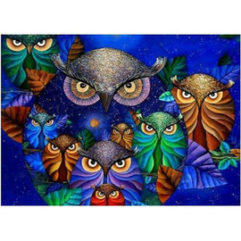 Diamond Art Picture Half Drill Size 30X40 Colorful Owls
