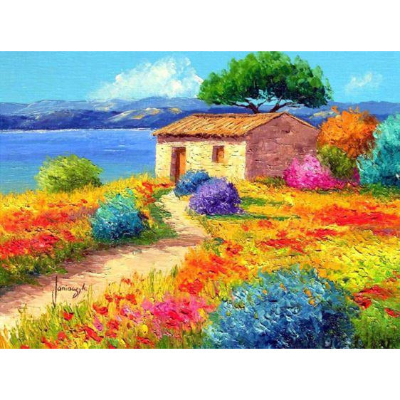 Diamond Art Picture Half Drill Size 40X50 Colorful House