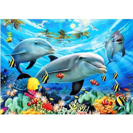 Diamond Art Picture Half Drill Size 30X40 Dolphin Paradise