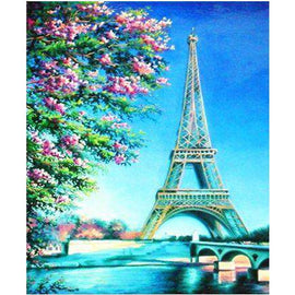 Diamond Art Picture Half Drill Size 30X40 Eiffel Tower Blue