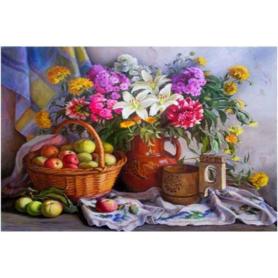 Diamond Art Picture Half Drill Size 30X40 Fruits & Flowers