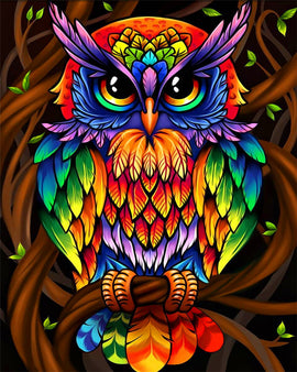Diamond Art Picture Full Drill Size 40X50 Psychedelic Owl