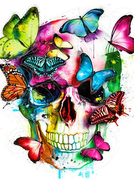 Diamond Art Picture Full Drill Size 50X65 Butterfly Skull