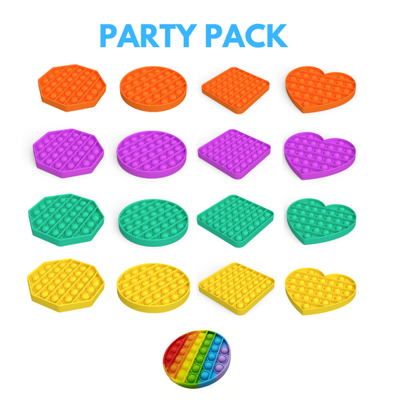 Pop it Sensory Fidget Toy Ultimate Kid's Party Pack (17 Pieces)