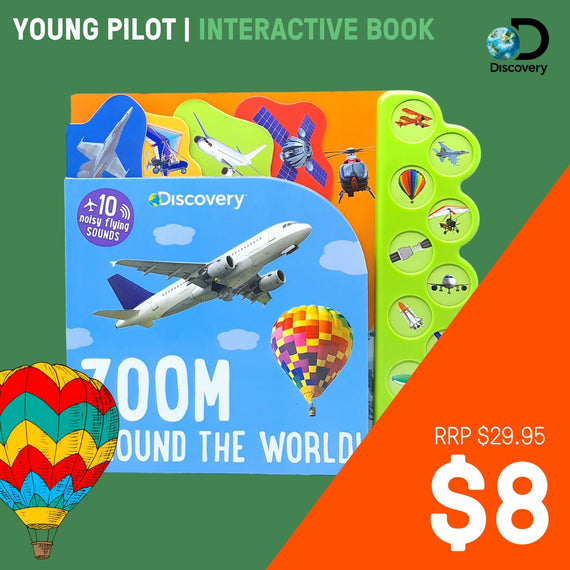 Discovery Zoom Around the World! 10 Flying Sounds- Board Book