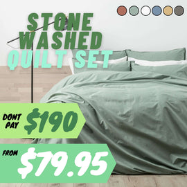 Renee Taylor Lorimer 300TC Stone washed Quilt Cover set