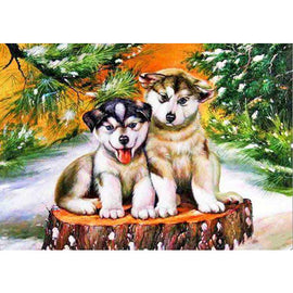 Diamond Art Picture Half Drill Size 30X40 Husky Pups