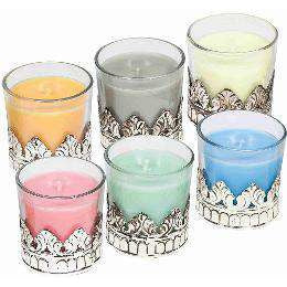 Karma Scents Candle Jar in Metal Crown Holder Assorted