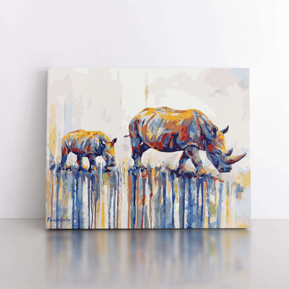 Paint By Numbers Duo Set - Rhino Love 60x80cm