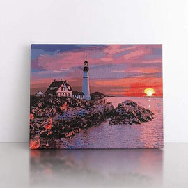 PaintbyNumber-50x70cm  Lighthouse at dusk