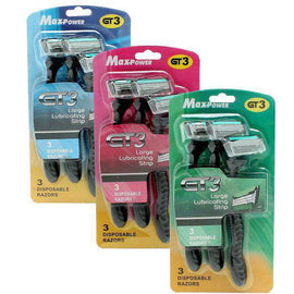 GT3 Max-Power Disposable Razors 3 Pack Assorted