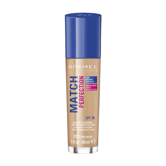 Rimmel London 30Ml Match Perfection Foundation 203 True Beige Spf20 (Carded)