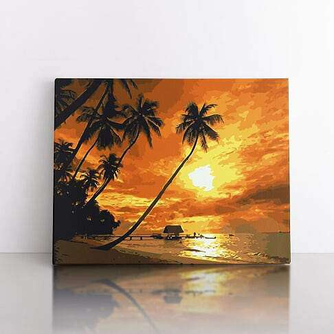 PaintbyNumber-50x70cm  sunset in paradise