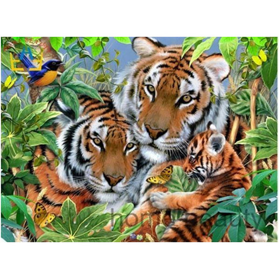 Diamond Art Picture Half Drill Size 40X50 Tiger Clan