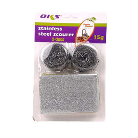 OKS Stainless Steel Scourer 2+2 Pcs