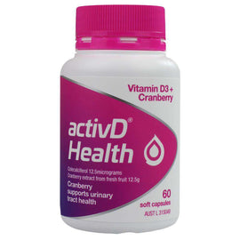 Activd Pk60 Health Vitamin D3+ Cranberry Supports Urinary Tract Health