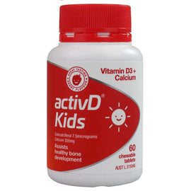 Activd Pk60 Kids Vitamin D3+ Calcium Assists Healthy Bone Development